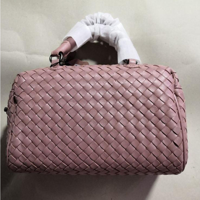 Women Handbag Genuine Lambskin Leather Knitted Soft Top Quality Brand Designer Female Shoulder Bags Womenwoven Tote Bag