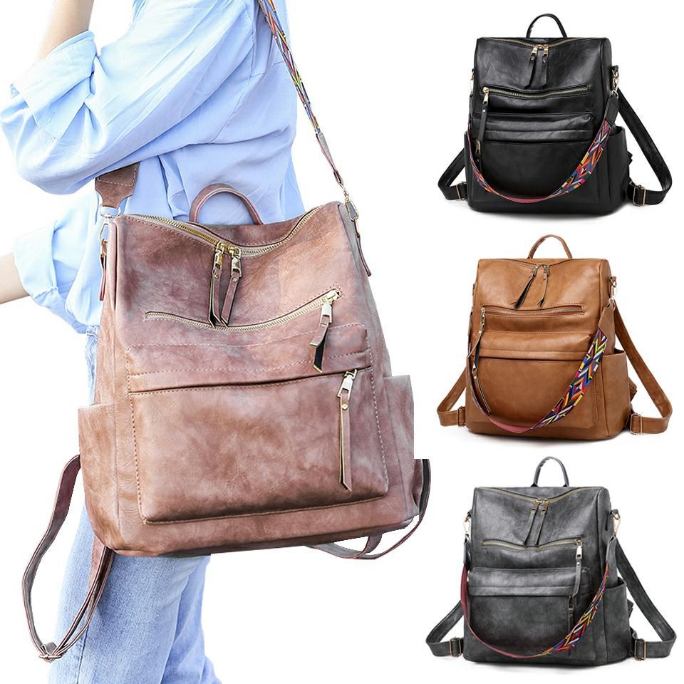 2020 Backpack Women Leather Fashion Shoulder Bag Women Solid Color Women's Backpack Travel Bag Hand Bags Mochilas Para Mujer