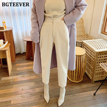 BGTEEVER Women Harem Jeans Pants Fashion High Waist Loose White Denim J