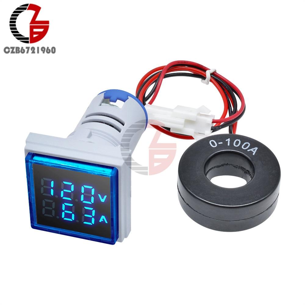 Квадратный светодиодный цифровой вольтметр, амперметр переменного тока 50-500 в 0-110 А, 220 В, измеритель напряжения и тока, вольтметр, автомобиль...