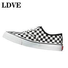 Luxury Canvas Shoes Female 19 Fashion Student Couple Wild Square Black And White Pattern Casual Ladies Mens Large Size 43