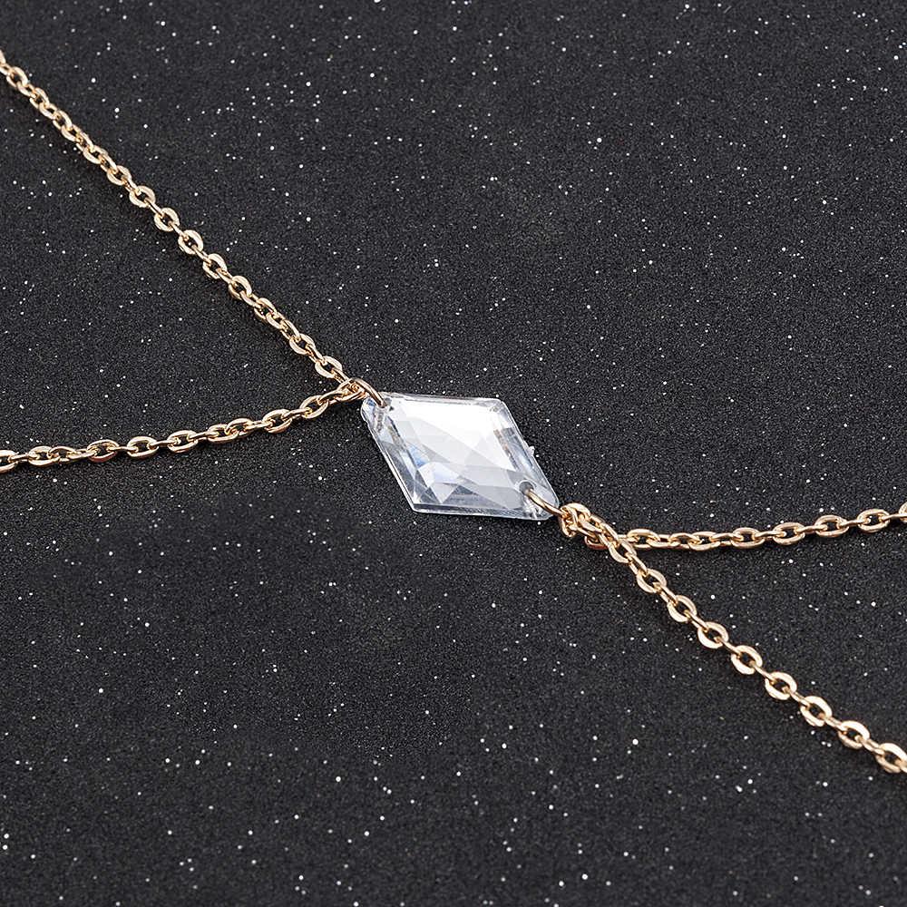 מקסים Crossover רתם קריסטל ירח זהב שרשרת מותניים חגורת בטן גוף שרשרת תכשיטי משלוח חינם