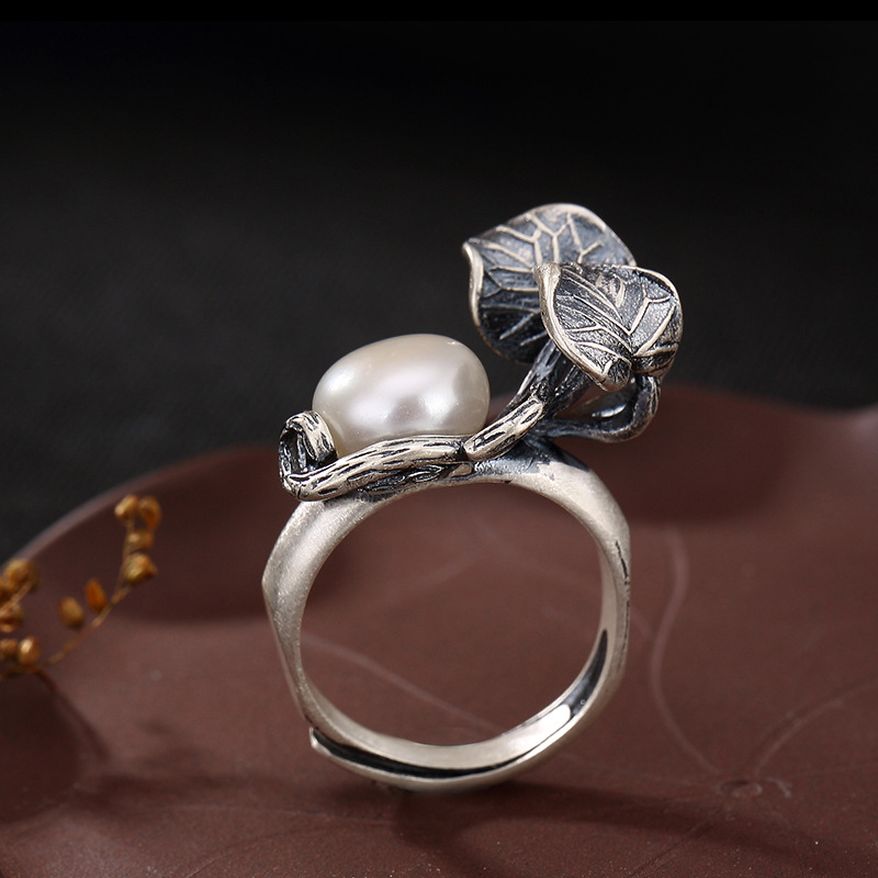 Image 2 - Pearl Rings Natural Freshwater Pearl 925 Sterling Silver Ring Leaves Women Retro Ring Party JewelryRings