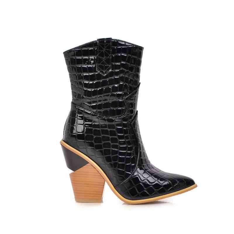 ASUMER artı boyutu 34-43 kadın çizmeler kalın yüksek topuklu sivri burun düz renk batı çizmeler ofis elbise ayakkabı bayanlar yarım çizmeler