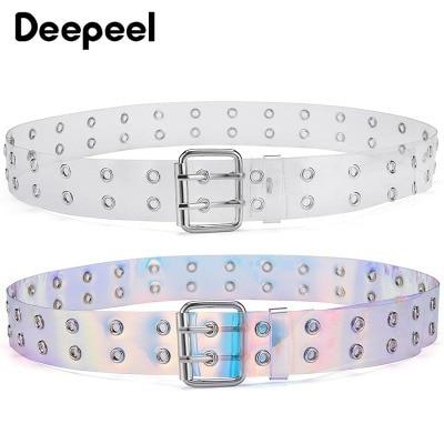Deepeel  3.8*103cm Fashion Double-pin Ladies Belt Transparent  Cummerbund Decorative Chain Jeans Dress Casual Accessories YK624