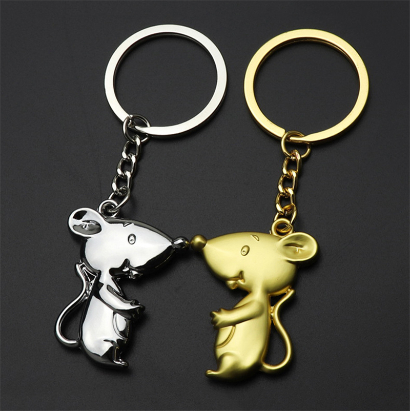 Fashion Alloy Mouse Keychain Metal Chain Silver Golden Keychains For Women Men Key Chain Car Key Ring Bag Pendant Souvenirs Gift