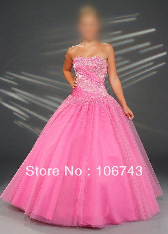 Free Shipping Real Sample 2018 Storage A-line Strapless Pink Gown Prom Ball Gown Lace Up Custom Mother Of The Bride Dresses