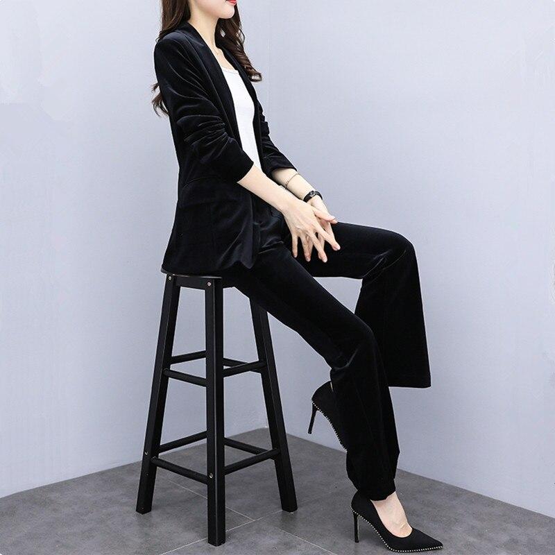 Otoño Invierno nueva mujer oro terciopelo traje casual conjuntos moda delgada Oficina señora profesional pantalones trajes blazer y pantalones dos conjuntos - 2