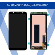 Per SAMSUNG Galaxy J8 J810 J810F LCD AMOLED schermo di Visualizzazione dello schermo + Touch Panel Digitizer Assembly Per SAMSUNG Visualizzazione Originale
