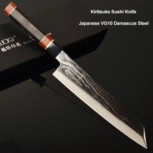 Image 1 - 24cm סושי סשימי סכין יפני vg10 דמשק פלדה Kiritsuke סלמון דגי פילה מטבח שף סכין עם אוקטגון ידית 2.1G