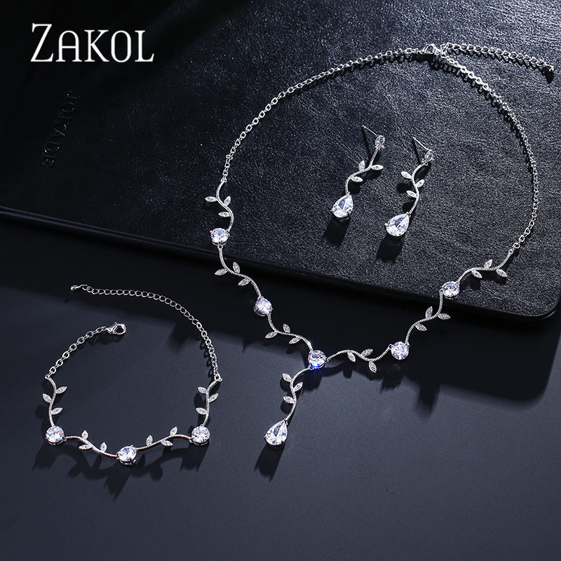 ZAKOL Classic White Color/ Rose Gold Color Cubic Zirconia Gift For Women Jewelry Sets With Elegant Plant Bijoux FSSP233