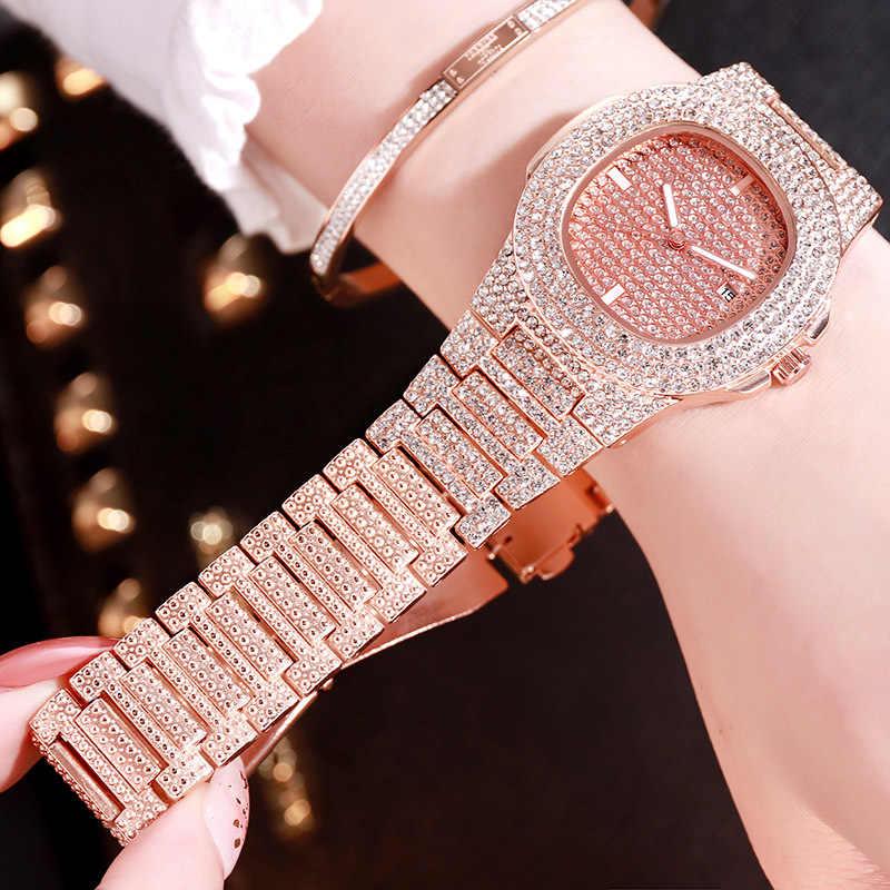 היפ הופ אייס מתוך קוורץ שעונים יוקרה תאריך קוורץ יד שעונים בלינג CZ שעון לנשים גברים ראפר תכשיטים