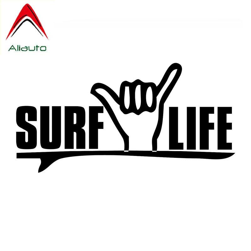 Aliauto Creative Funny Car Sticker I Love Surfing Decal Vinyl Window Decoration Accessories Motorcycle Black/silver,17cm*8cm
