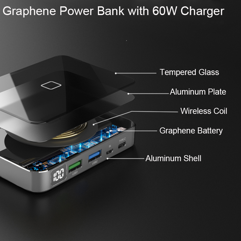 RIY Graphene Powerbank Battery Bank Wireless 10000MAH Power Bank With Type C PD QC3.0 USB C Charger For Xiaomi Huawei And Iphone