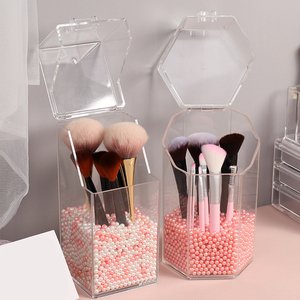 Acrylic Makeup Brush Holder Makeup Organizer Cosmetic Holder Lipstick Pencil Storage Container Transparent Storage Box Holder