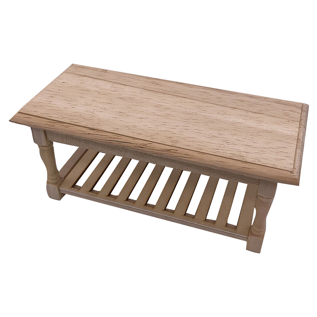 Dollhouse End Table Long Tea Table 1:12 Scale Miniature Furniture Decor