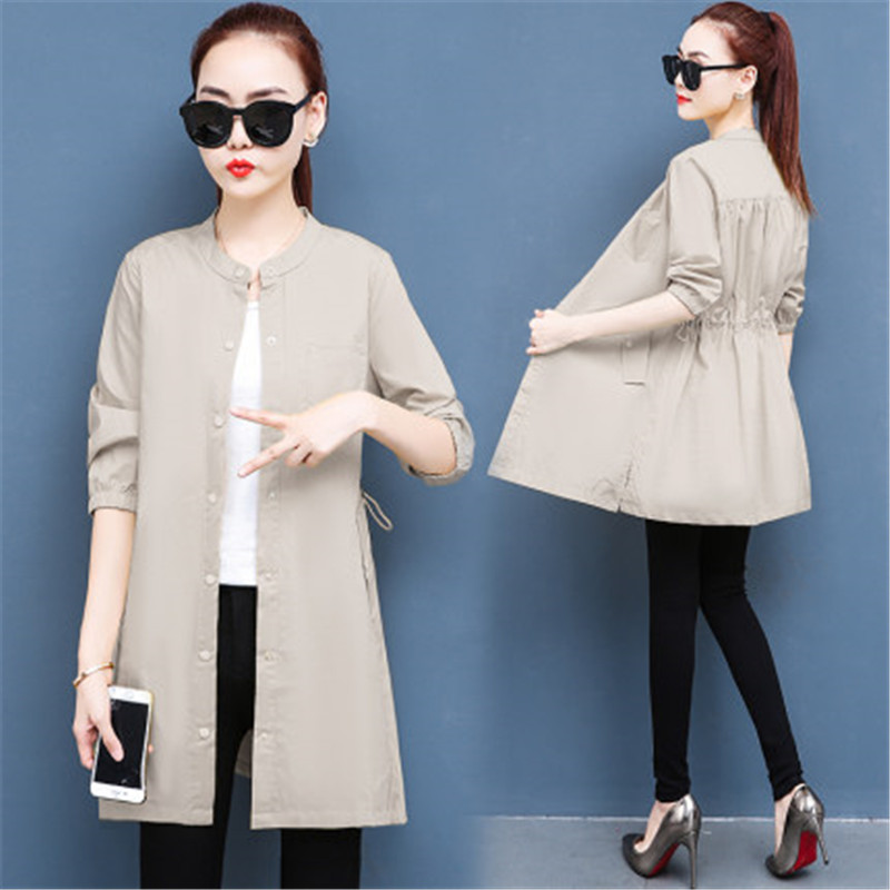 Thin Coat Female Long Casual Loose Trench Coats 2020 New Spring Plus Sizes Women Korean Summer Slim Cardigans Outerwears Hl446