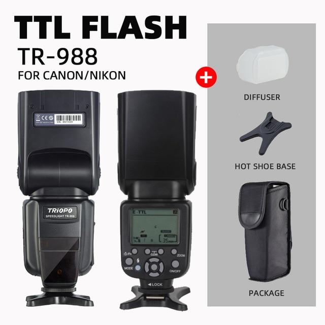 TRIOPO TR 988 Flash profesional Speedlite TTL con sincronización de alta velocidad para cámaras DSLR Canon d5300 Nikon d5300 d200 d3400 d3100