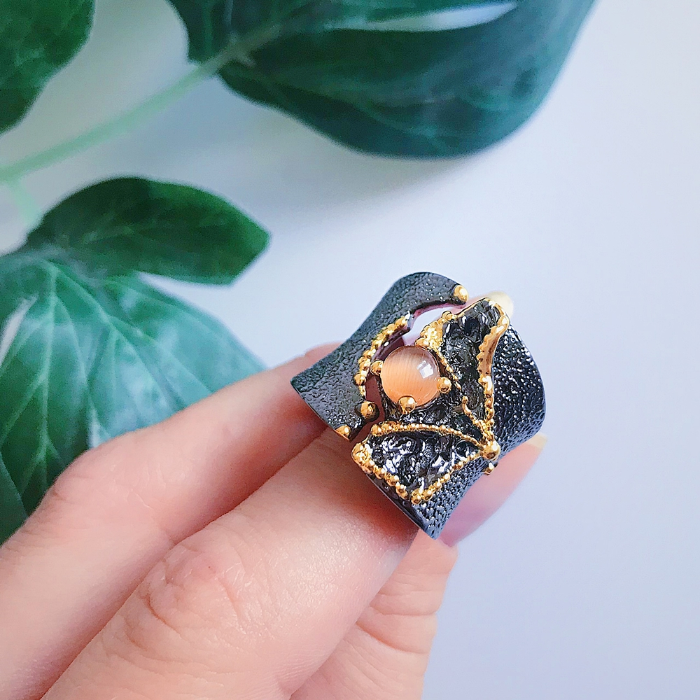 WA11609 Fissure Rings for Women Split On Top Black Gold Color with Light Brown CZ Stone Wholesale (1)