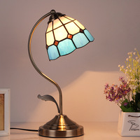 Creative Mediterranean Table Lamp Bedroom Bedside Lamp Library Retro Mosaic Color Glass Decorative Table Lamp Stain Glass Lamps