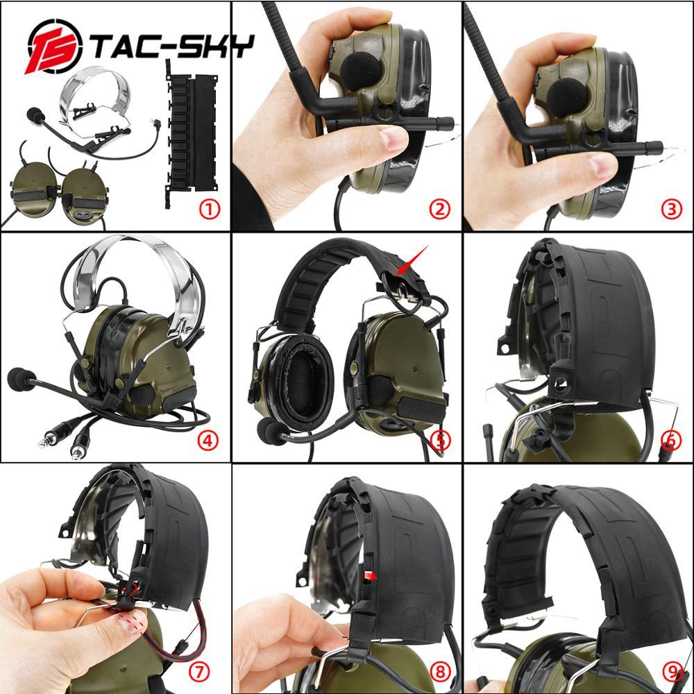 Купить с кэшбэком TAC-SKY COMTAC III dual communication silicone earmuffs new foldable headband tactical headset with new k plug tactical ptt u94