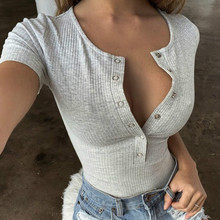 Women Short Sleeve Bandage Bodysuits 2020 Autumn Spring T-shirt Sstyle Jumpsuit