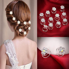 Floral Headwear Pearl Flower Hair Sticks Accessories Wedding Bridal Clips Women Hairpins Party Crystal Tiara Hair Jewelry(China)