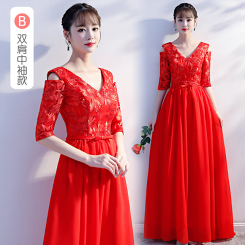 V-neck Burgundy   Bridesmaid     Dress   Red Long Chiffon Junior Woman   Dresses   for Party and Wedding Sexy Prom   Dress   Champagne Vestidos