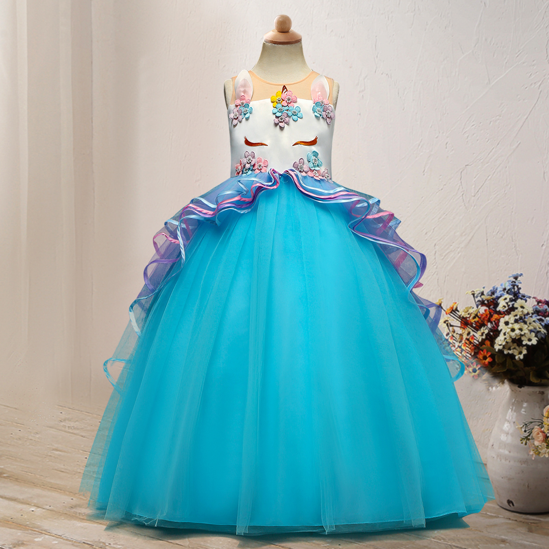 Europe And America AliExpress CHILDREN'S Dress Unicorn Long Formal Dress Gauze Puffy Princess Dress Performance GIRL'S Gown
