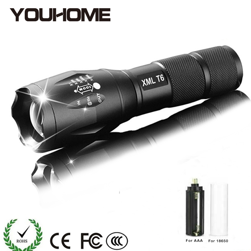 Led Flashlight Ultra Bright Torch CREE XTM-T6 Waterproof Zoomable 18650 Battery Outdoor Camping Powerful Rechargeable Flashlight
