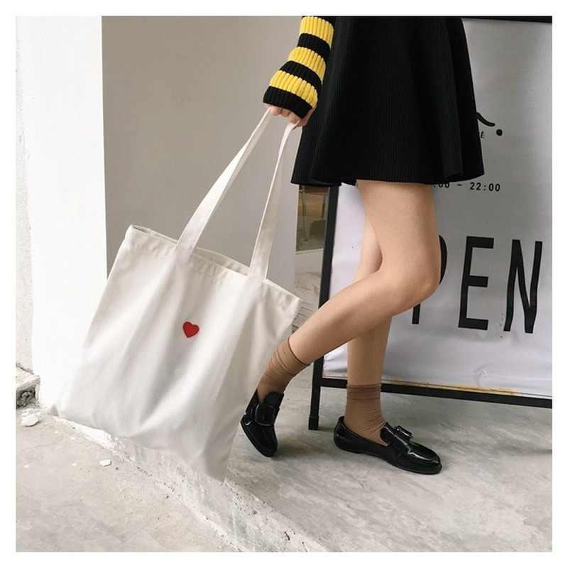 Bolso de mano de lona para mujer bolso de compras de tela plegable amor corazones rojos bolsos de hombro de algodón blanco señora Shopper playa viajes