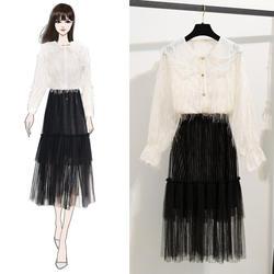 Осень 2019, новинка, милая прозрачная рубашка, пальто с кисточками, белые газовые и длинные черные плиссированные юбки, костюмы, одежда для