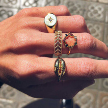Fashion hollow Carved shell ring Colorful Rhinestone Ring 4/piece set Bohemian Beach Summer Set Gold rings for women