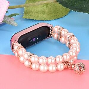 Image 5 - Correa de repuesto para reloj inteligente Xiaomi Mi Band 3 y 4, pulsera de Metal con Perfume de perlas para mujer
