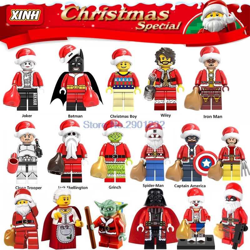Рождественские персонажи для Хэллоуин Санта Клаус Grinch Джокер Дэдпул Дарт Вейдер Харли Куинн строительные блоки кирпичи игрушки для детей