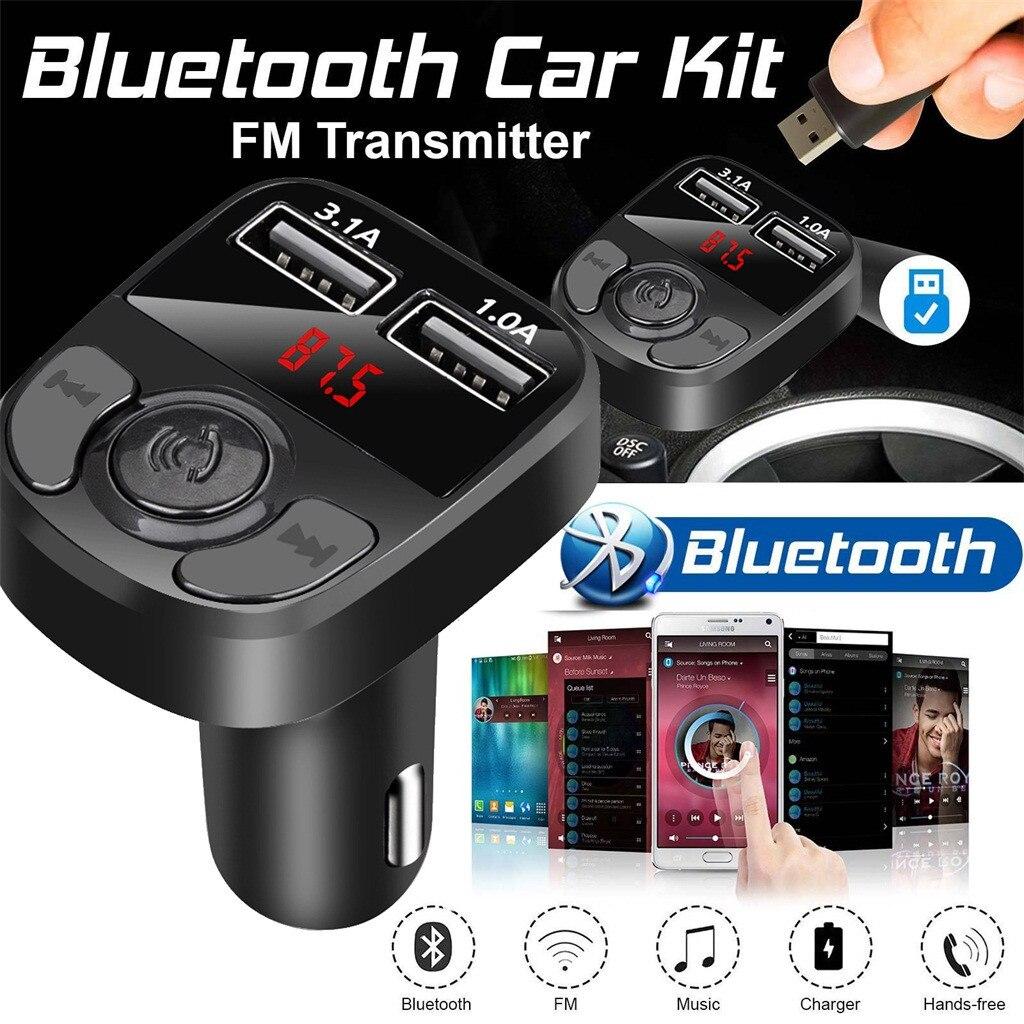 Novo 3.1a carregador de carro bluetooth transmissor fm mp3 players modulador handsfree dupla usb carregador a27 para o telefone alta qualidade