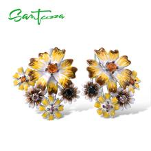 SANTUZZA Silver Earrings For Women Authentic 925 Sterling Silver Shine Yellow Nano Cubic Zirconia Glamorous серьги Fine Jewelry cheap GDTC 925 Sterling Other Artificial material TRENDY Clip Earrings PLANT Wedding E313416ENASK925 Silver Color Cubic Zirconia brincos
