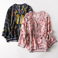 New Europe wind in spring and summer v neck key printed silk air conditioning cardigan is prevented bask in clothes