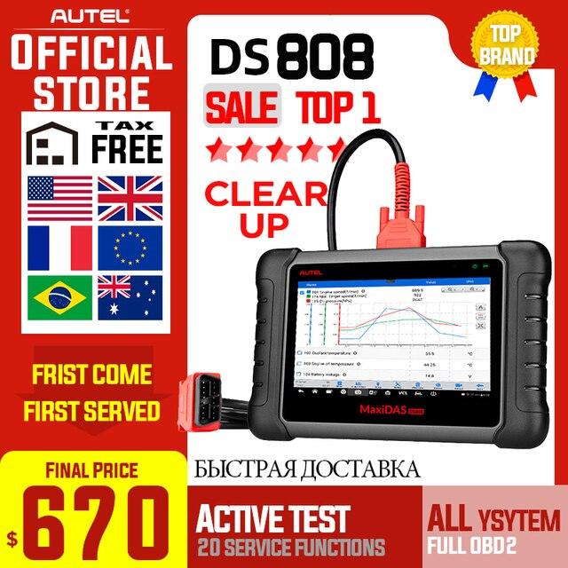 Autel MAXIDAS DS808 skaner OBD2 OBDII OBD 2 samochodowe samochodowe narzędzie do skanowania diagnostycznego TPMS programowanie klucz programujący Maxisys MS906