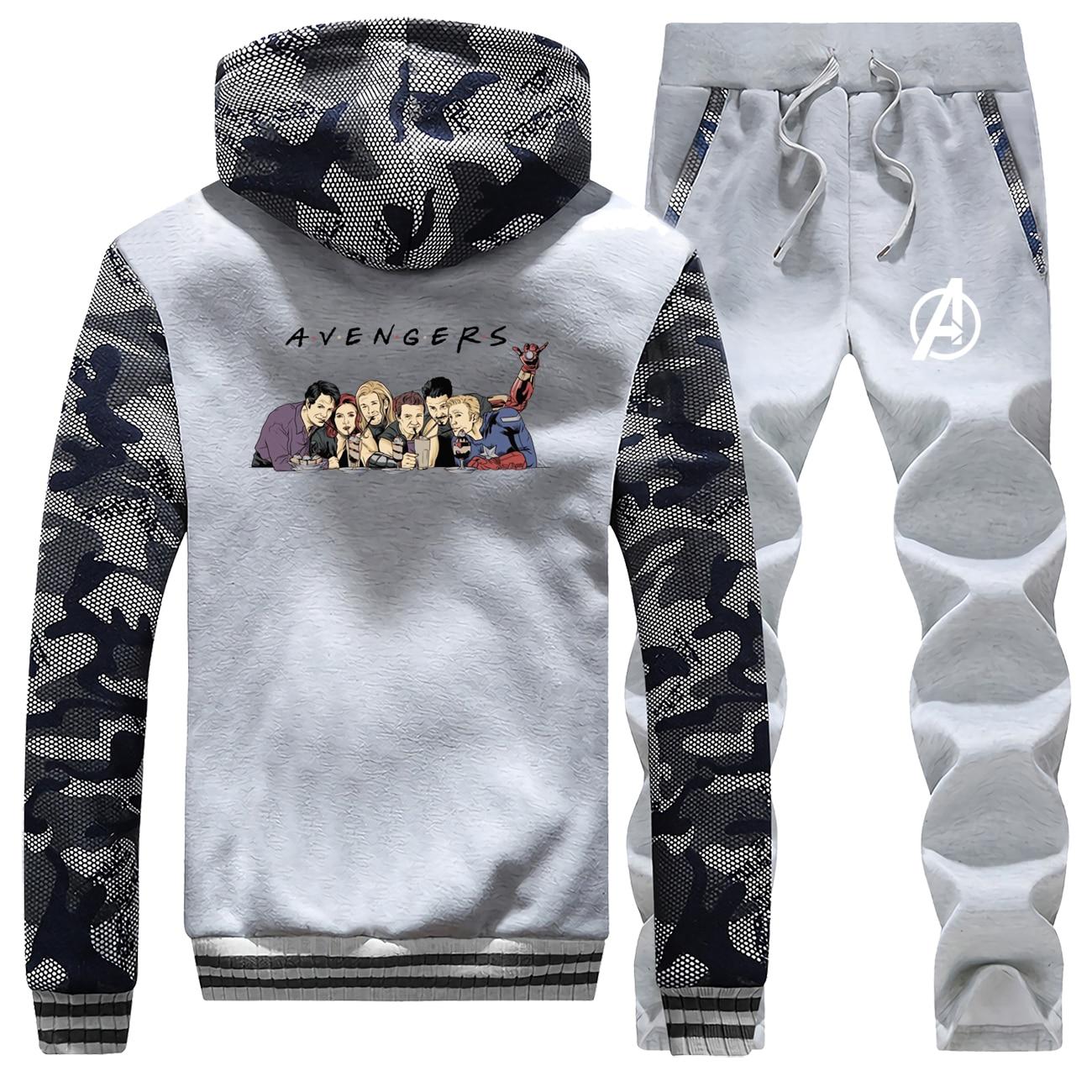 AVENGERS Male Clothing Suit Winter Thick Sports Jacket Brand Warm Pants Men Hip Hip Biker 2 Piece Set Casual Harajuku Tracksuit