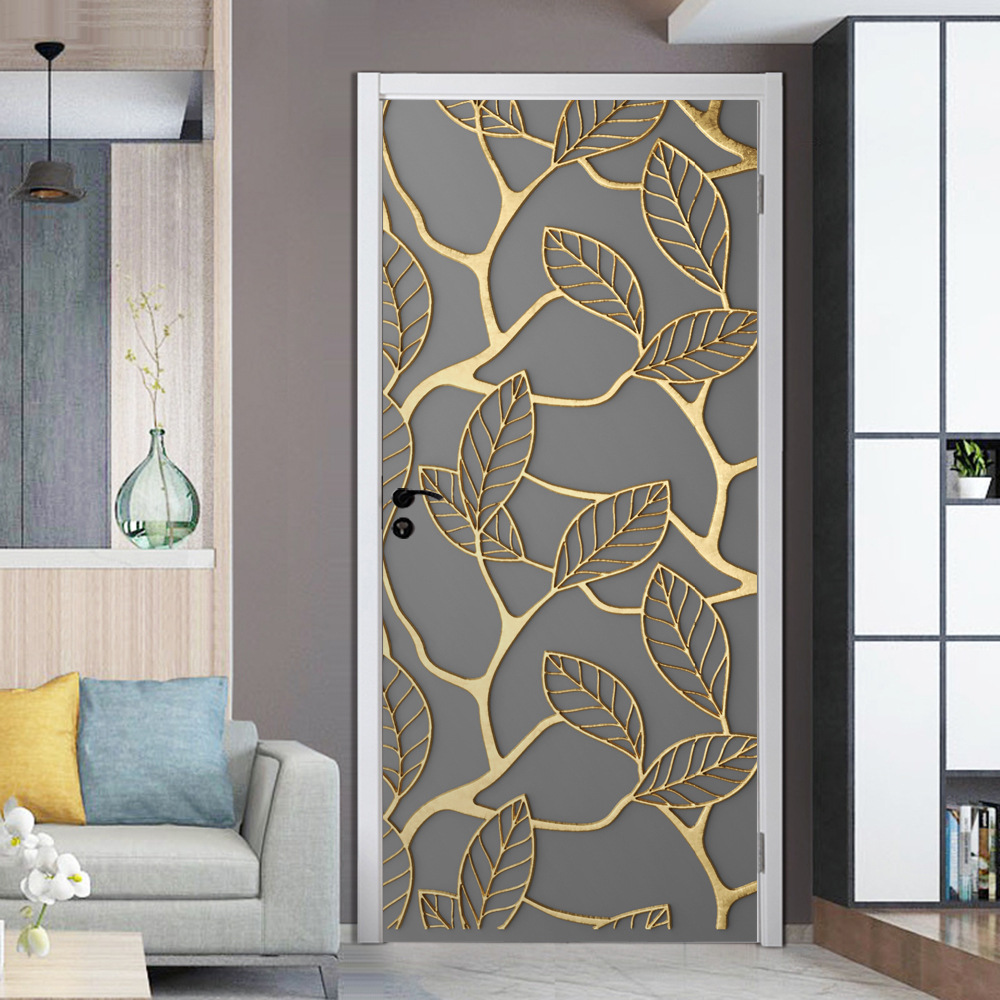 New door sticker Wardrobe refurbished stickers Waterproof removable wallpaper self adhesive gold leaf PVC wallpaper in Wall Stickers from Home Garden