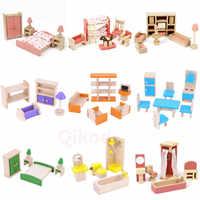 Gran oferta de Mini muebles de simulación para la familia, juegos de muebles en miniatura de cocina para niña, juguetes educativos para niña, regalo