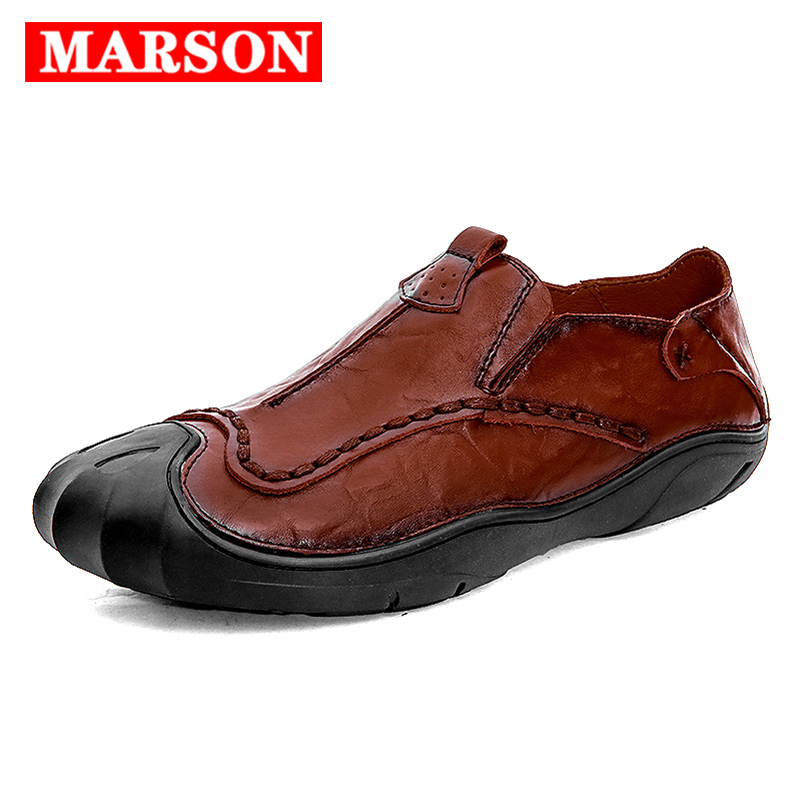 MARSON Men 39 s Casual Shoes Loafers Fashion Leather Footwear for Men Anti Slip Male Flats Social Shoes Classic Business Outdoor in Men 39 s Casual Shoes from Shoes