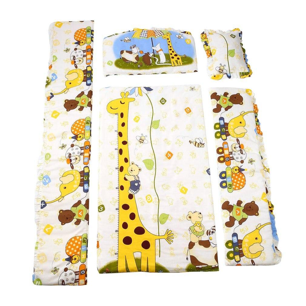 New Cute 100*58cm/110*60cm 5pcs/Set Promotion Cotton Baby Children Bedding Set Comfortable Crib Bumper Baby Organizer Cot Kit