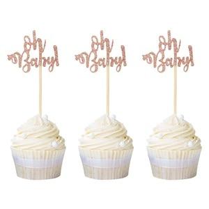 Decoraciones para Baby Shower, 24 Uds., oro rosa, magdalenas de bebé, Decoración de Pastel de fiesta de 1er cumpleaños, suministros para fiesta