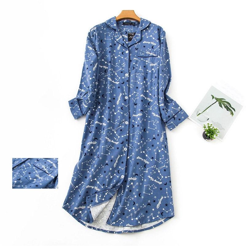 100% Cotton Extended Flannel Nightdress Women New Heart Printed Long Sleeve Sleepwear Female 2020 Autumn Winter Lady Nightwear 2