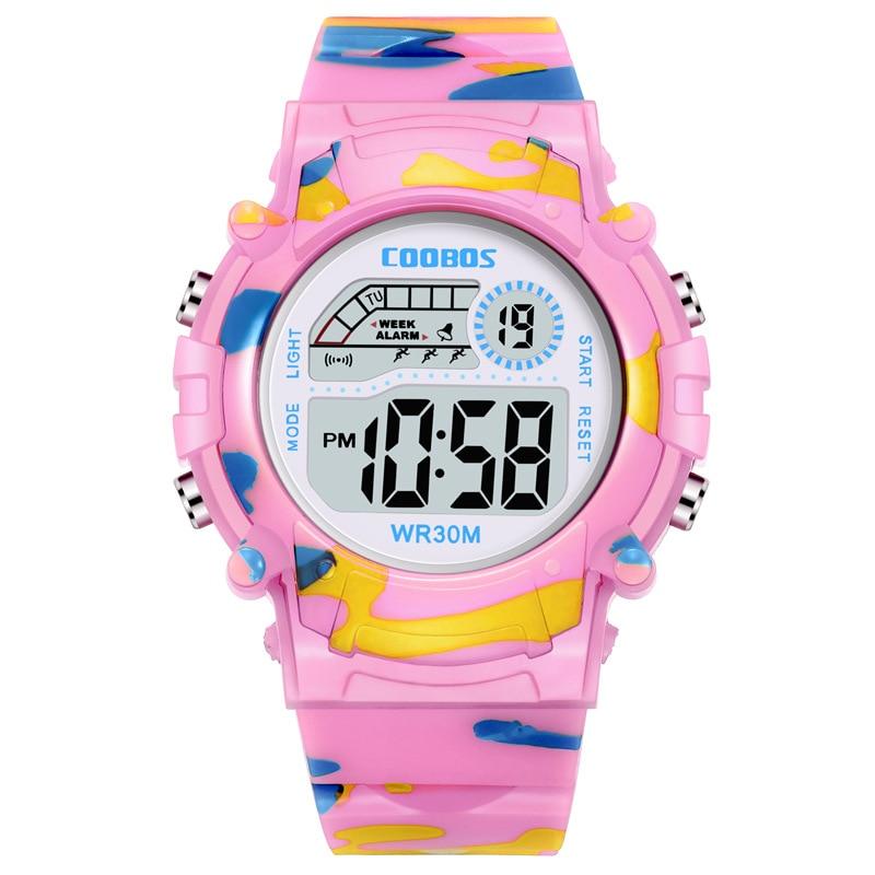 Дети часы девушка мода милый розовый цифровой светодиодный электронный спорт часы мальчик силикон ремешок наручные часы дети часы Reloj Enfant