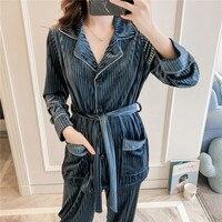 3 шт., Женский бархатный пижамный комплект, Осенний велюровый Халат, одежда для сна, Повседневная Домашняя одежда, одежда для сна, сексуальны...