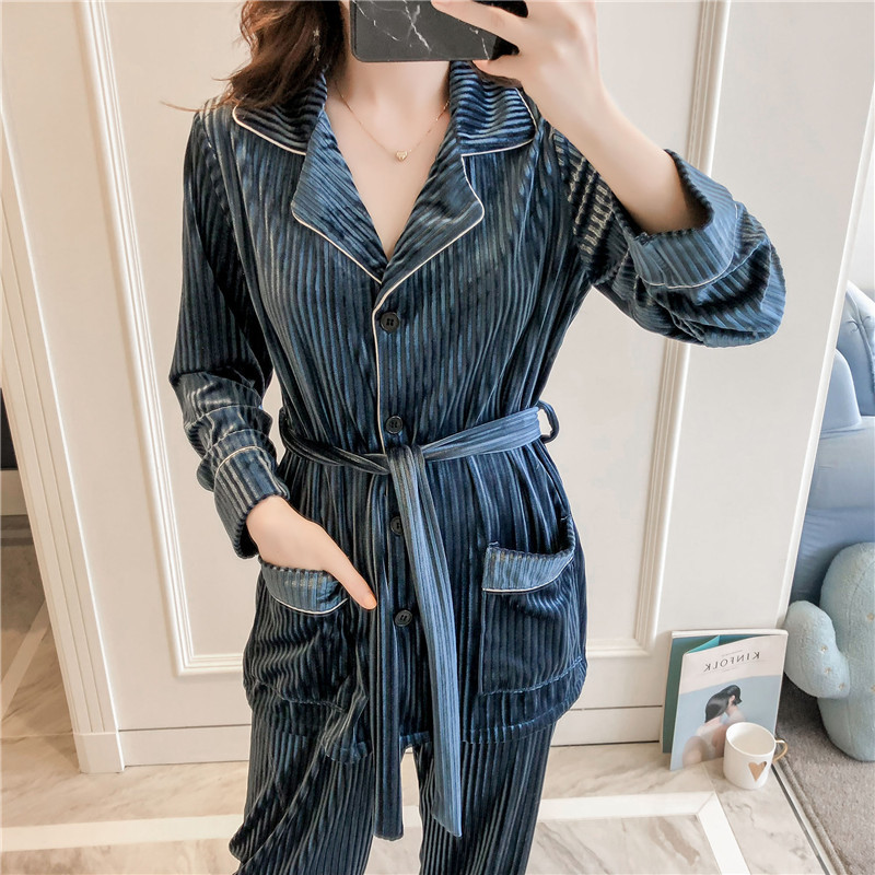 3PCS Female Velvet Pajamas Set Autumn Velour Robe Gown Nightwear Casual Home Wear Sleepwear Sexy Lace Lounge Pyjamas Suit M-XL