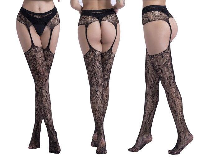 Frauen Sexy Strümpfe Dessous Strumpfhosen mit Strumpfband Netz Dessous 2
